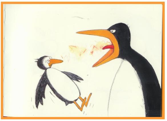 A ilustração mostra a mamãe pinguim gritando com seu filhote | The illustration shows the penguin mum shouting with its chick